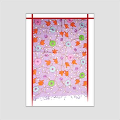 Multi Color Mauve Hand Floats And Embroidered Shawls