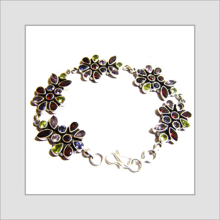 Designer Silver Bracelets With Color Stone