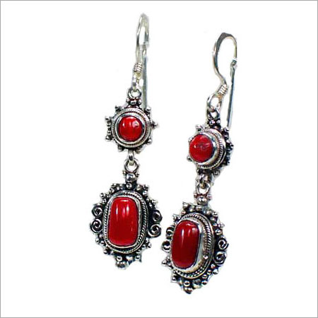 Red Color Silver Earrings