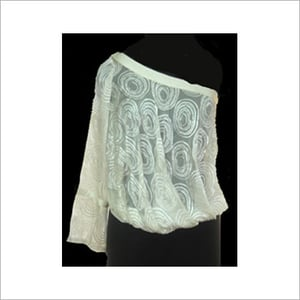 White Colored Silk Embroidered Top