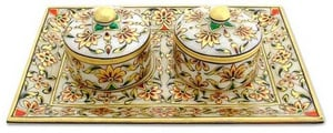 MARBLE TRAY SET WITH GOLD PLATED