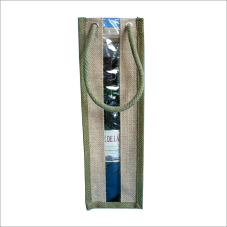 Brown Bottle Jute Carry Bag