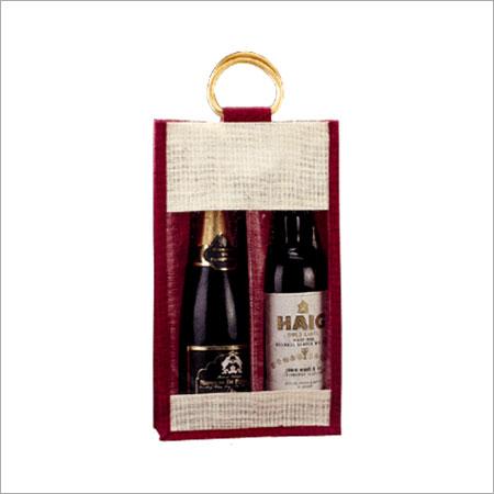Maroon Jute Dual Compartment Bottle Bags