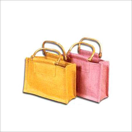 Yellow And Pink Jute Mini Shopping Bag