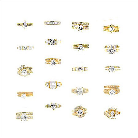 CZ Gold Plated Brass Ladies Rings