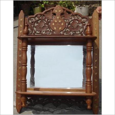 Hand Carved Sheesham Wood Mirror Frame Design: Plain
