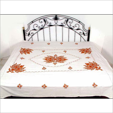 White Printed Pure Cotton Bed Sheets