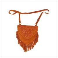 Suede Embroidered Shoulder Bag