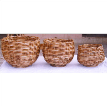 Brown Light Weighted Cane Planter Basket