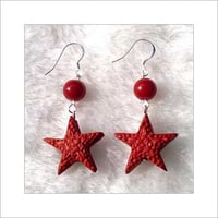 Red Star Lacquerwork Earring
