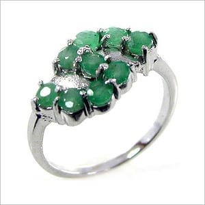 Genuine Emerald Rounds .925 Sterling Silver Ring