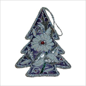 Christmas Tree Silver Thread With Red Beads