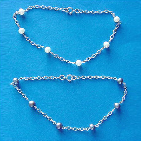 Beads on Square Snake Chain -.925 Sterling Silver Made In Italy GK Anklet