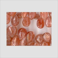SUNSTONE FACETED PEAR DROPS