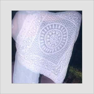 White Colored Chikan Embroidered Sarees