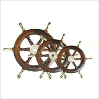 Wooden Ship Wheel With Brass Handle