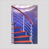 Wood Staircase With Stainless Steel Handrail