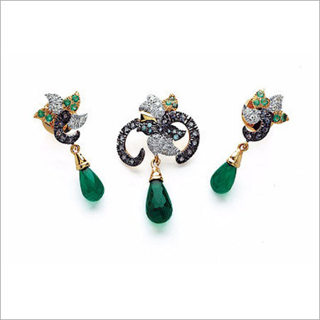 Various Colors Are Available Designer Diamond Beaded Pendants