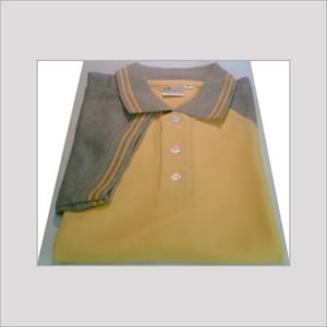 COTTON COLLARED YELLOW T-SHIRT