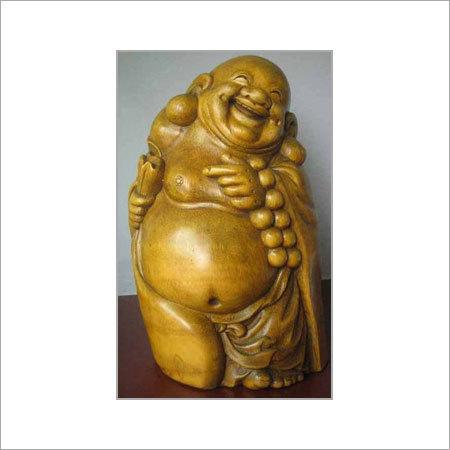 Bamboo Carving Laughing Buddha
