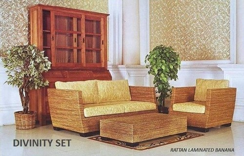Rattan Wicker Laminated Banana Table and Sofa Set