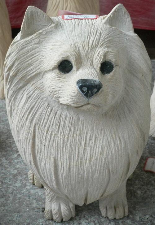 Cute White Puppy Sculpture