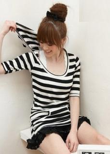Ladies Strip Design T Shirt