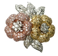 Flower Design Diamond Brooch