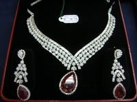 Diamond Necklace Set With Gemstone