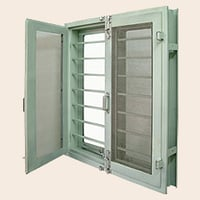 Double Shutter Window with Hollow Metal Frame