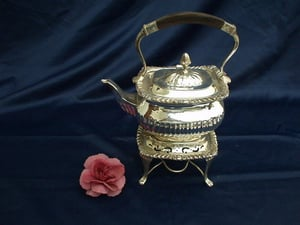 Silver Plated Tea Pot On Stand And Burners