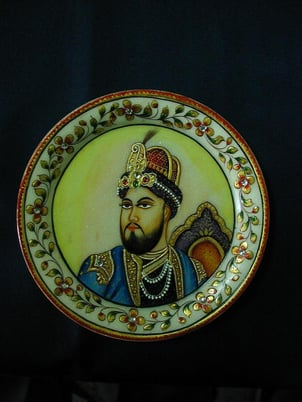 Marble Round Plate Painting