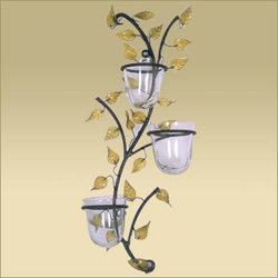 Customizable Flower Design Iron Wall Sconce Candle Stand