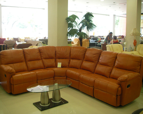 Brown Living Room Leather Couch