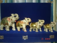 MARBLE GOLD PAINTED ELEPHANTS