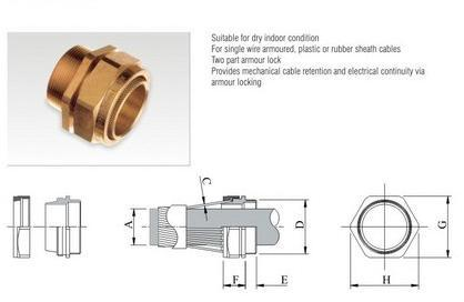 Industrial Brass Cable Gland Type Bw