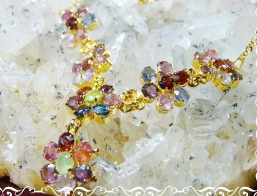 Multi-Stone Flower Garnet Necklace