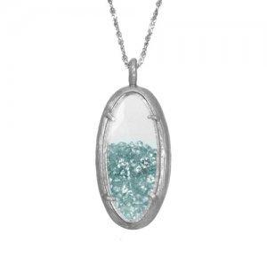 Small Oval Glass Brach Necklace