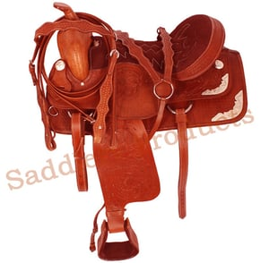 Brown Western Tooled Show Saddle Tack
