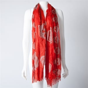 Skull Print Polyester Scarf in Red