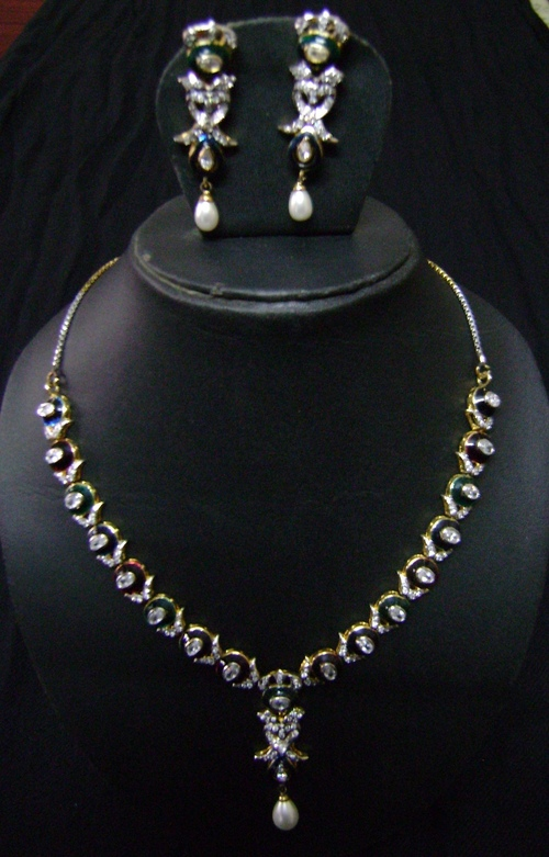 American Diamond Full Necklace Set At Best Price In
