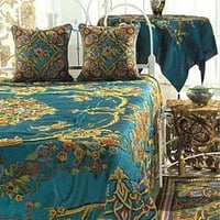 Art Nouveau Turquoise Cotton Viscose Velvet Crewel Bedding