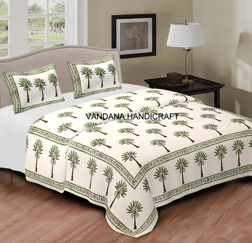 Cotton Hand Block Printed Bedsheet