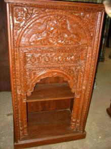 Antique Furniture Peacock Carved Wooden Bookcase