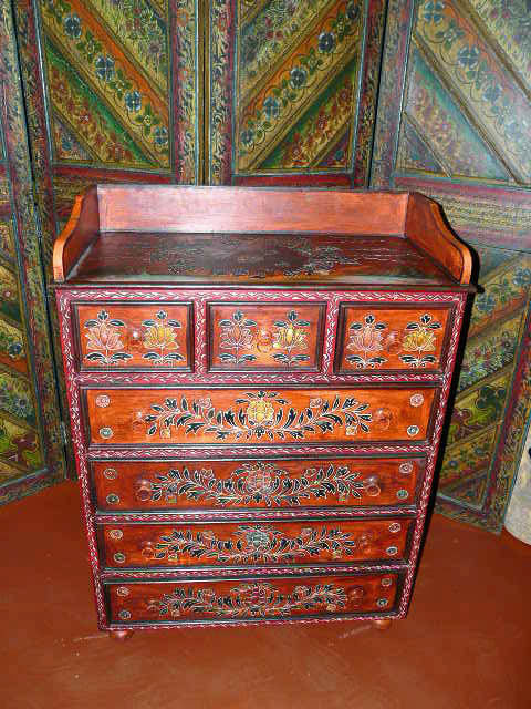 Antique India Drawer Chest Red Painted Floral Cabinet