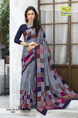 Designer Printed Crepe Sarees For Ladies