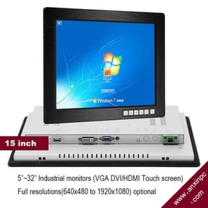 15 Inch Industrial LCD Monitor Display With Touch Screen Panel DVI VGA