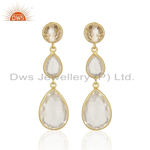 Crystal Quartz Gold Plated Earrings Jewelry
