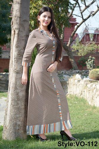 Brown Cotton Printed Long Dress - VEDIKA OVERSEAS ee365783a