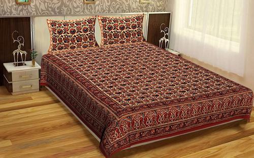 Bagru Block Printed Indian Handmade Brown Mutty Color Floral Rajasthani Bedspread